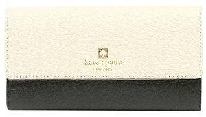 Kate Spade NEW!!! TAGS Kate Spade Black Cream Leather Fold Wallet