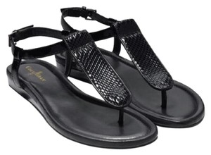 Cole Haan Glossy black snake embossed Sandals