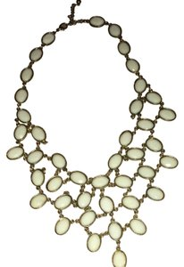 Unknown Beautiful White And Gold Bib Necklace