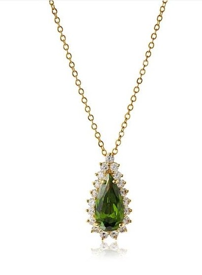 Kenneth Jay Lane CZ By Kenneth Jay Lane Pear Shape Pendant necklace with clear crystal trim