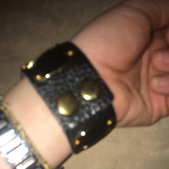 Pookie and Sebastian Black Leather Bracelet With Gold Hardware