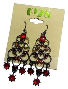1928 New 1928 Chandelier Earrings Red Black Long J2781