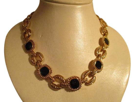 Preload https://img-static.tradesy.com/item/17933827/napier-gold-and-black-textured-link-with-enamel-necklace-0-1-540-540.jpg