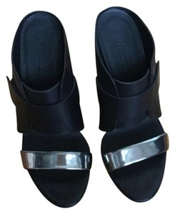Vince Black with silver top strap Wedges