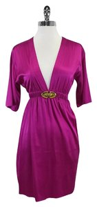 Lauren Moffatt short dress Fuchsia Cinched Waist Silk on Tradesy