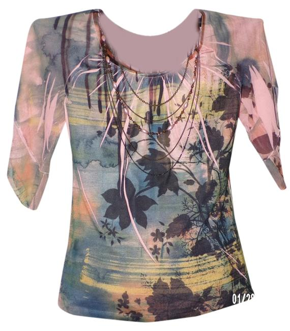 Preload https://img-static.tradesy.com/item/1793403/peach-multi-color-washed-jersey-with-attached-necklace-blouse-size-8-m-0-0-650-650.jpg