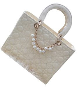 Vintage Pearls Gold Tote in Cream