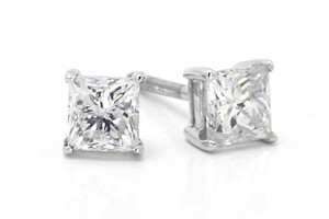 14k White Gold Princess Cut Diamond Solitaire 4.5 Mm Prong Studs Earrings 1 Ct