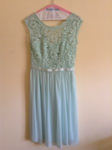 David's Bridal Mint Short Mesh And Lace Dress With Illusion Neck Line Dress