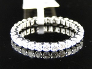 14k Womens White Gold Diamond Wedding 3 Mm Pave Eternity Designer Ring 1.0 Ct