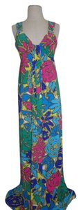 Multi Maxi Dress by Nine West Vibrant Colors Size Sexy Long Green Blue Red