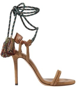 Isabel Marant Pom Pom Fringe Suede Brown Camel Tan Sandals