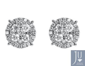 White 14k Gold Mens Ladies Round Diamond 9mm Prong Cluster Stud 1.25ct Earrings