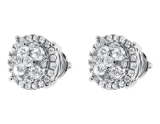 White 14k Gold Mens Ladies Round Diamond 9mm Prong Cluster Stud 1.25ct Earrings Image 1