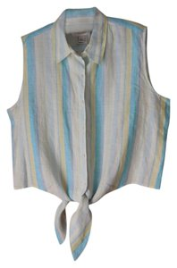 Talbots Irish Linen Sleeveless Extra Button Top Stripe