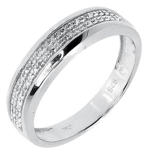 Other White Gold Finish Ladies 5mm Round Diamond Wedding Band Ring 0.11 ct