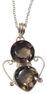 Other New Smoky Quartz Gemstone Necklace Sterling Silver Filled J2787