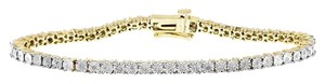 Other Two Tone Gold Finish Sterling Silver Diamond Tennis Bracelet .25ct