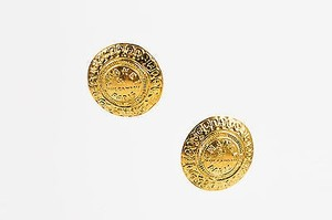 Chanel Vintage Chanel Gold Tone Logo Round Oversized Medallion Clip On Earrings