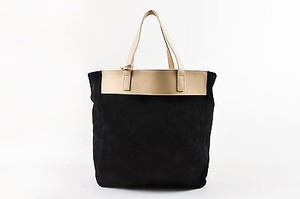 Saint Laurent Beige Suede Leather Reversible North South Tote in Black