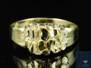Yellow Real 10k Gold Nugget Style Custom Designer Fancy Pinky Ring