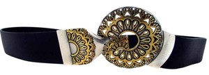 Chico's Adjustable Leather Belt Silver Gold Front Clasp