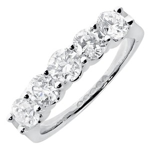 Other 14k White Gold Ladies Diamond 5 Stone Prong Wedding Band Ring 1.54ct