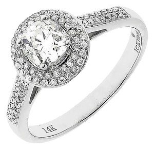 14k White Gold Ladies Round Solitaire Diamond Halo Wedding Ring 1 Ct