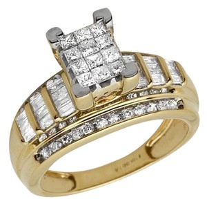 10k Yellow Gold Princess Cut Genuine Diamond Engagement Ring 7/8ct