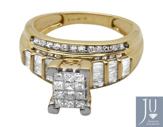 Other 10k Yellow Gold Princess Cut Genuine Diamond Engagement Ring 7/8ct Image 3