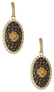 Freida Rothman Freida Rothman 14K Gold Plated Textured Oval CZ Drop Earrings