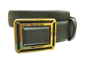 Ralph Lauren Black Vachetta leather Belt Faceted Deco Plaque Medium