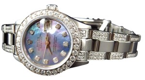 Rolex Ladies Stainless Steel Rolex Datejust Diamond Watch Blue Mop Dial 6 Ct