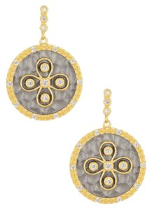 Freida Rothman Freida Rothman 14K Gold Plated Round Hammered Floral CZ Earrings