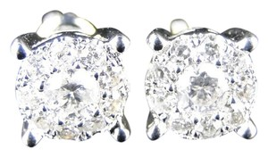 Other Unisex 14K White Gold Solitaire Look Diamond 7.5mm Earrings 1.0 Ct