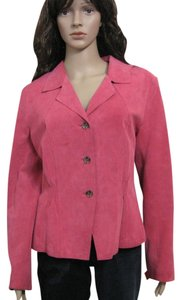 Jones New York 100% Genuine Leather Hot Size 12 L Buttoned pink Leather Jacket
