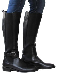 Via Spiga Leather Tall Stretchy Black Boots