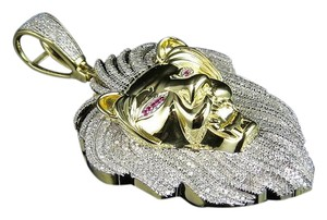 Other Mens 10k Yellow Gold 3d Lion Roar Face Diamond Pendant Charm 2.20 ct