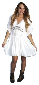 Fashion Fuse NEW WOMENS BOHO CHIC SWIMSUIT COVER UP WHITE COTTON GAUZE SIZE SMALL