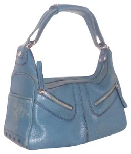 Tod's Exterior Pockets Great Color Mint Vintage Chrome Hardware Medium/Large Size Satchel in Robin's egg blue