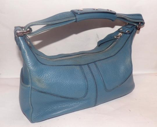 Tod's Exterior Pockets Great Color Mint Vintage Chrome Hardware Medium/Large Size Satchel in Robin's egg blue Image 2