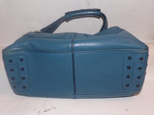 Tod's Exterior Pockets Great Color Mint Vintage Chrome Hardware Medium/Large Size Satchel in Robin's egg blue Image 4