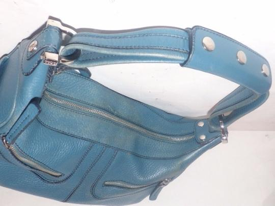 Tod's Exterior Pockets Great Color Mint Vintage Chrome Hardware Medium/Large Size Satchel in Robin's egg blue Image 5