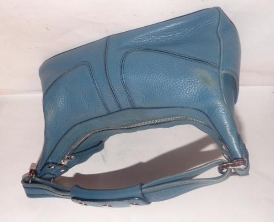 Tod's Exterior Pockets Great Color Mint Vintage Chrome Hardware Medium/Large Size Satchel in Robin's egg blue Image 6