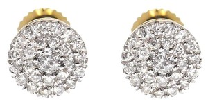 14k Yellow Gold Mens Ladies Diamond 5mm Cluster Earrings 0.25 Ct
