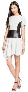 Tibi Knit Contrast Panel Checkered Faux Leather Dress