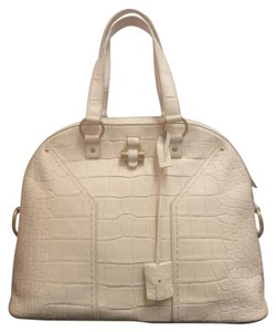 Saint Laurent Alligator Ysl Crocodile Tote in ivory off white