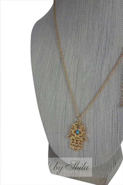 Item - Gold Hamsa with Turquoise Stone In The Middle Necklace