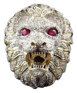 Mens 10k Yellow Gold 3d Lion Face Genuine Diamond Pinky Ring 2.25ct.