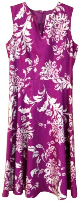 Item - Fuchsia/Magenta with White Sun Mid-length Work/Office Dress Size 6 (S)